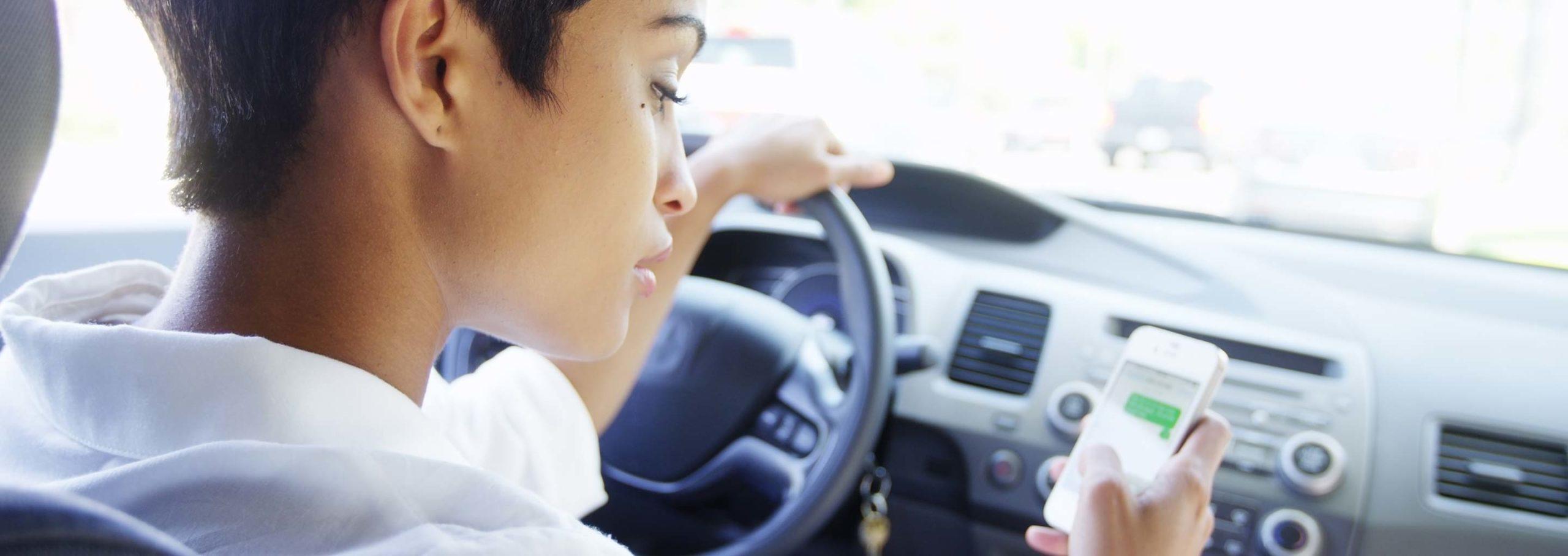 distracted driving looking at phone